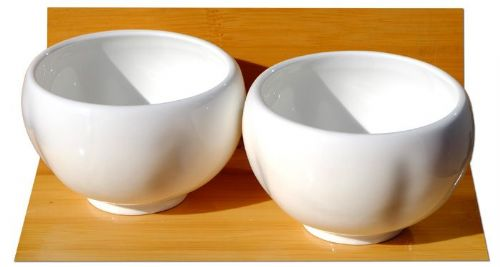White ceramic plum blossom cups x 2